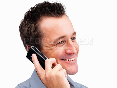 Buy stock photo Closeup of a mature guy using a cell phone on white background