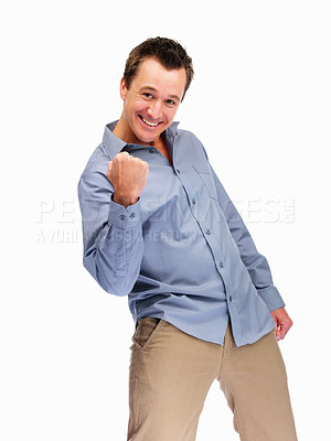 Buy stock photo Happy mature man punching the air in joy on white background