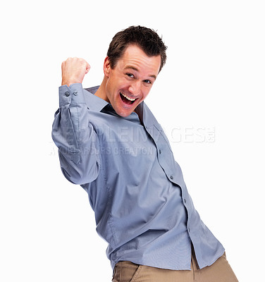 Buy stock photo Portrait of a happy mature man enjoying success on white background