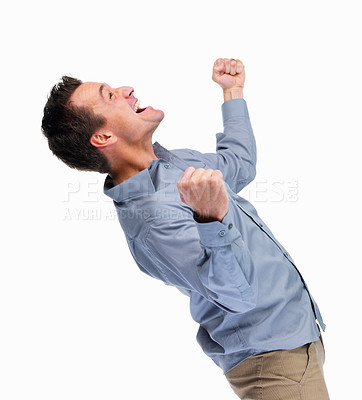 Buy stock photo Portrait of a casual man looking very happy with his arms up against white background