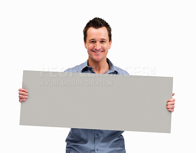 Buy stock photo Mature man holding blank board ready for text against white background