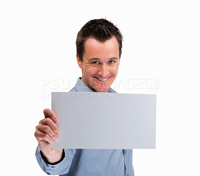 Buy stock photo Happy mature man holding blank billboard against white background