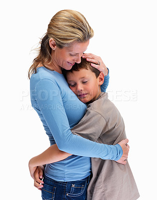 Buy stock photo Side view of a mature woman hugging her son on white background