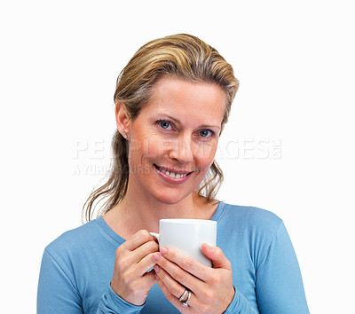 Buy stock photo Smiling mature woman holding a cup of coffee on white background
