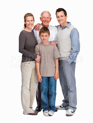 Buy stock photo Family portrait - Family of four standing together against white background