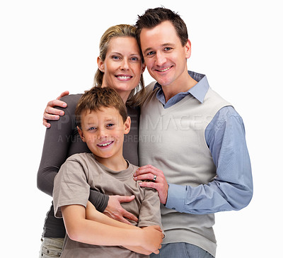 Buy stock photo Portrait of happy mature parents with a little kid on white background