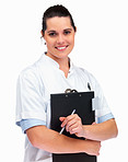 Nurse holding a notepad smiling against white