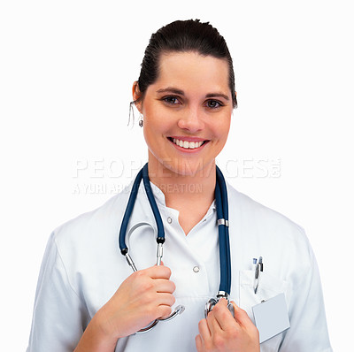 Buy stock photo Portrait of a confident female assistant against white background