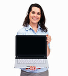 Woman holding a laptop with space for your text