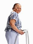 Senior woman with a walker against white