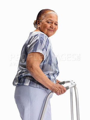 Buy stock photo Portrait of a senior woman with a walker against white background