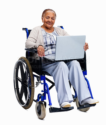 Buy stock photo Senior woman sitting on a wheelchair with a laptop