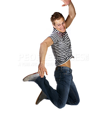 Buy stock photo Young man flying in the air. This image is pretty sharp even though it's taken in the middel of a jump. I had to take around 50 of these to get one good shot.