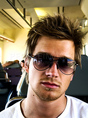 Buy stock photo Trendy Young Man with sunglasses.