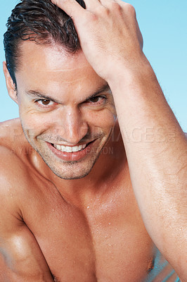 Buy stock photo Closeup of happy handsome man smiling with wet body