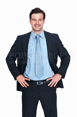 Buy stock photo Portrait of confident business man smiling over white background