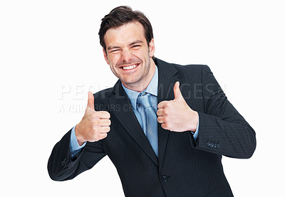 Buy stock photo Portrait of cheerful business man with thumbs up gesture over white background