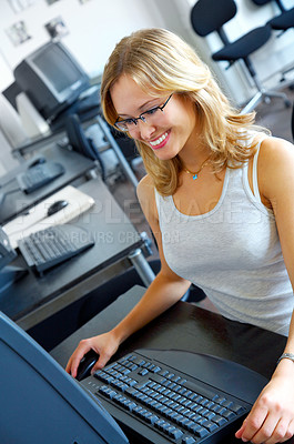 Buy stock photo Satisfied businesswoman