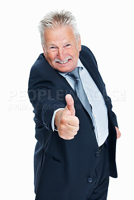 Buy stock photo Portrait of cheerful senior business man showing thumbs up gesture over white background
