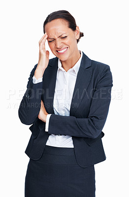 Buy stock photo Portrait of pretty mixed race business woman suffering from headache on white background