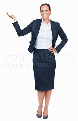 Buy stock photo Full length of mixed race woman presenting over white background