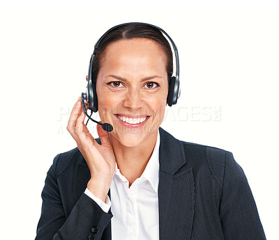 Buy stock photo Closeup of friendly call center executive with headphones over white background