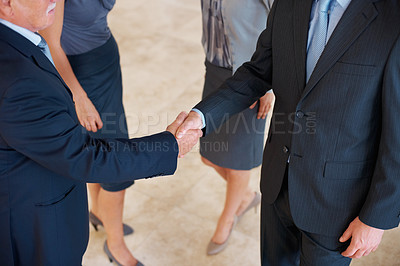 Buy stock photo Portrait of business people shaking hands with each other