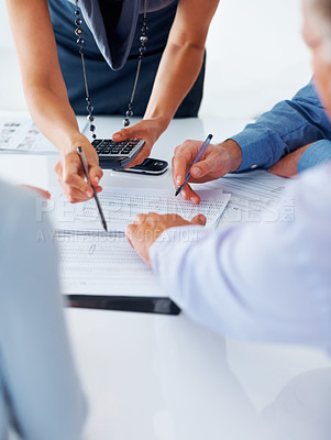 Buy stock photo Portrait of business people calculating budget together in office