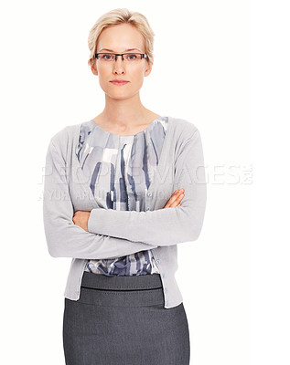 Buy stock photo Portrait of confident young business woman standing with arms crossed on white background