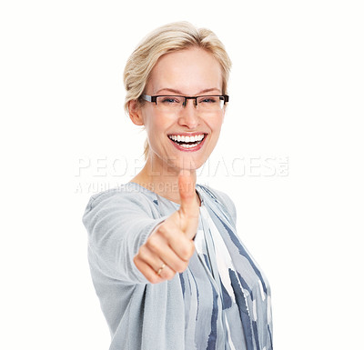 Buy stock photo Portrait of smiling business woman showing thumbs up gesture on white background