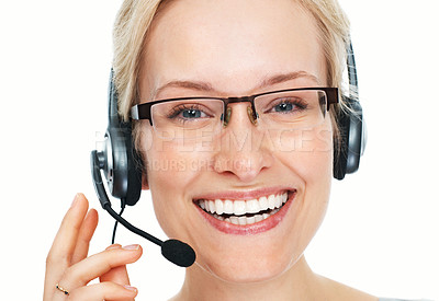 Buy stock photo Closeup of female operator with headset all set to help over white background