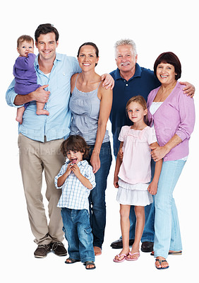 Buy stock photo Portrait of mature couple with children and grandchildren on white background