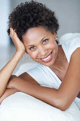 Buy stock photo Closeup portrait of beautiful African American woman relaxing on couch