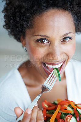 Buy stock photo Closeup of pretty African American woman eating vegetable salad