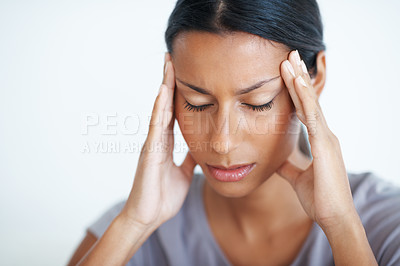 Buy stock photo Closeup of beautiful woman with eyes closed suffering from severe headache