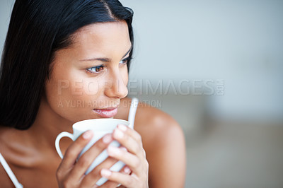 Buy stock photo Closeup of attractive woman in deep thought having coffee