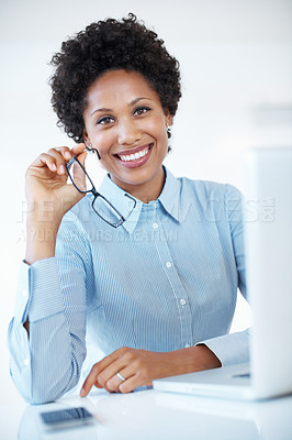 Buy stock photo Portrait of beautiful business woman smiling at office desk