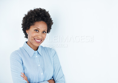 Buy stock photo Portrait confident business woman smiling with hands folded