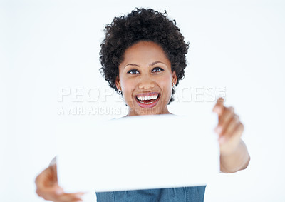 Buy stock photo Smiling business woman displaying blank card
