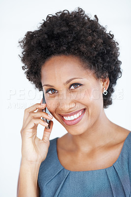 Buy stock photo Portrait of charming female executive smiling using mobile phone on white background