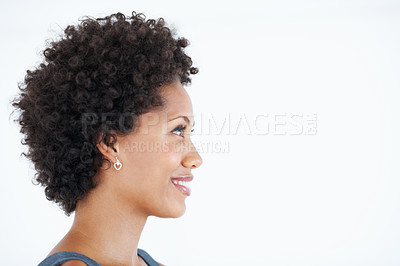 Buy stock photo Side view of beautiful African American business woman smiling white looking at copyspace