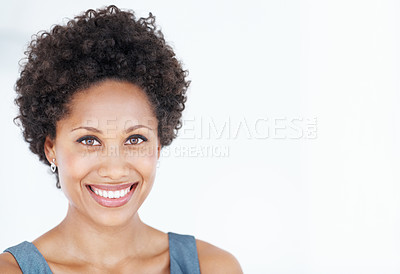 Buy stock photo Closeup of charming African American business woman smiling over white background
