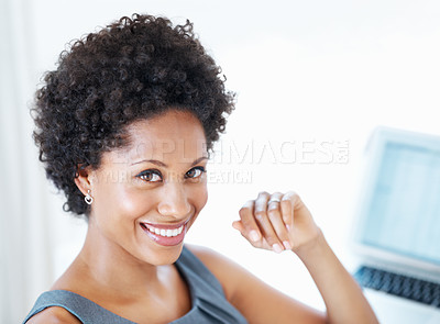 Buy stock photo Closeup of confident African American business woman smiling at work