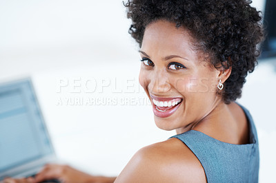 Buy stock photo Closeup of attractive business woman smiling at work
