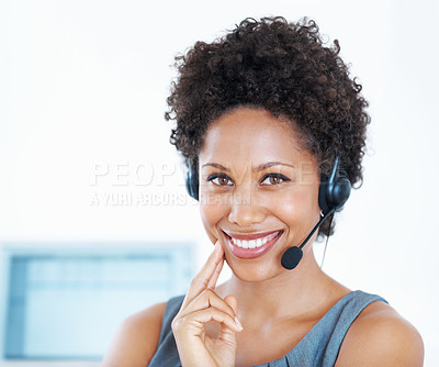 Buy stock photo Portrait confident center employee smiling with headset at work