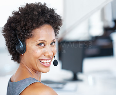 Buy stock photo Closeup of African American call center agent at work smiling with headset