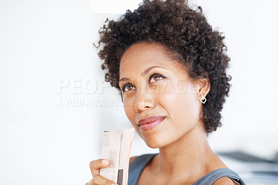 Buy stock photo Closeup of African American business woman looking away in deep thought
