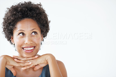 Buy stock photo Closeup of smiling African American business woman looking at copyspace