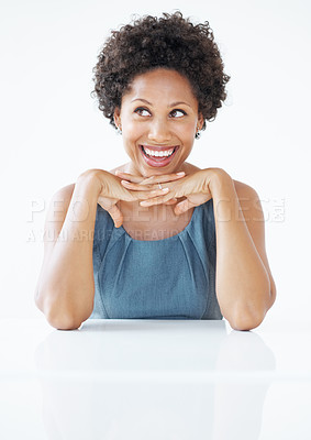 Buy stock photo Beautiful African American business woman laughing at desk