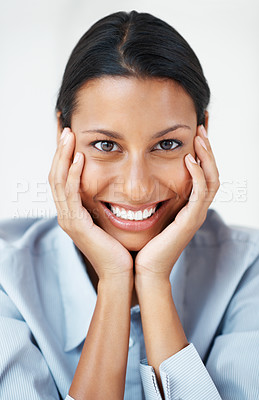 Buy stock photo Closeup of beautiful business woman smiling with hands on chin